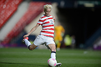 Glasgow, Scotland - Saturday, July 28, 2012: Megan Rapinoe of the USA Women's soccer team kicks the ball during a 3-0 win over Colombia in the first round of the Olympic football tournament at Hamden Park.