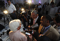 Trainer Bob Baffert is interviewed after the Post Position Draw for the 138th Kentucky Derby at Churchill Downs in Louisville, Kentucky on May 2, 2012.