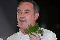 Chef Ferran Adria gives a speech and demonstration at the Tokyo Taste, The World Summit of Gastronomy 2009, 10 February 2009,Tokyo, Japan.Many of the world's top chefs are assembled for the sold-out 3 day event in the center of Tokyo.