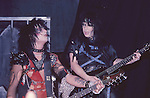 Nikki Sixx & Mick Mars of  Motley Crue Jan 1984 at New Haven Coliseum