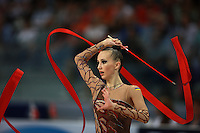 Anna Rizatdinova of Ukraine (junior) performs ribbon event final at  2008 European Championships at Torino, Italy on June 7, 2008.  Photo by Tom Theobald.