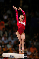 September 2, 2007; Stuttgart, Germany;  Anastasia Liukin of USA performs on balance beam during team qualifications in women's artistic gymnastics at 2007 World Championships.  Photo by Copyright 2007 by Tom Theobald.