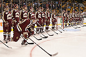 Quinn Smith (BC - 27) is announced as a starter for the Eagles. - The Boston College Eagles defeated the Boston University Terriers 3-1 (EN) in their opening round game of the 2014 Beanpot on Monday, February 3, 2014, at TD Garden in Boston, Massachusetts.