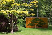Bridge (2015) by British conceptual artist Simon Starling next to tree in Art Park garden at Ordrupgaard Art Design Museum, Denmark