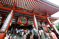 The main hall of Sensoji temple, Asakusa, Tokyo, Japan, August 28, 2011. Sensoji is one of the oldest temples in Tokyo, and the shopping arcades around it have sold visitors souvenirs for centuries.