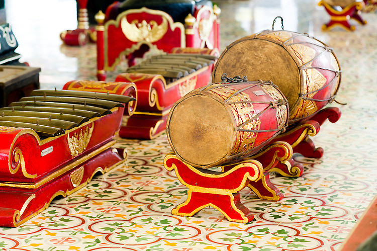 Gamelan Percussion Instruments at Kraton, The Sultan's Palace, Yogyakarta, Java, Indonesia. This photo shows a drum, one of the core parts of a traditional Gamelan orchestra, which they use to perform Gamelan Music at the The Sultan's Palace, Kraton in Yogyakarta, Java, Indonesia.