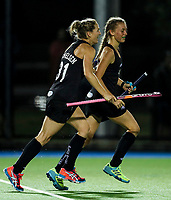 Madison Doar celebrates her maiden test goal for the Blacksticks during the international hockey match between the Blacksticks Women and India, Rosa Birch Park, Pukekohe, New Zealand. Tuesday 16  May 2017. Photo:Simon Watts / www.bwmedia.co.nz