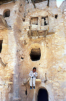 Libya     Nalut ..Berber granary with Ghorfas at Ksarr Qasr-al-Hadj Nafusah Mountains Libya .