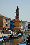Colourful painted buildings of Burano, famous for local industry of lace making. Venice lagoon, Italy.