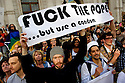 Demonstrators against the Pope visit to Britain. London 18/09/2010