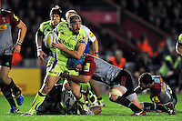 Neil Briggs of Sale Sharks takes on the Harlequins defence. Aviva Premiership match, between Harlequins and Sale Sharks on November 6, 2015 at the Twickenham Stoop in London, England. Photo by: Patrick Khachfe / Onside Images