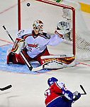 25 January 2009: Western Conference All-Star from the Minnesota Wild, goaltender Niklas Backstrom gives one up to Montreal Canadiens right wing forward Alexei Kovalev of the Eastern Conference All-Stars during the 2009 NHL All-Star Game at the Bell Centre in Montreal, Quebec, Canada. The Eastern Conference defeated the Western Conference 12-11 in a shootout.. ***** Editorial Sales Only ***** Mandatory Photo Credit: Ed Wolfstein Photo