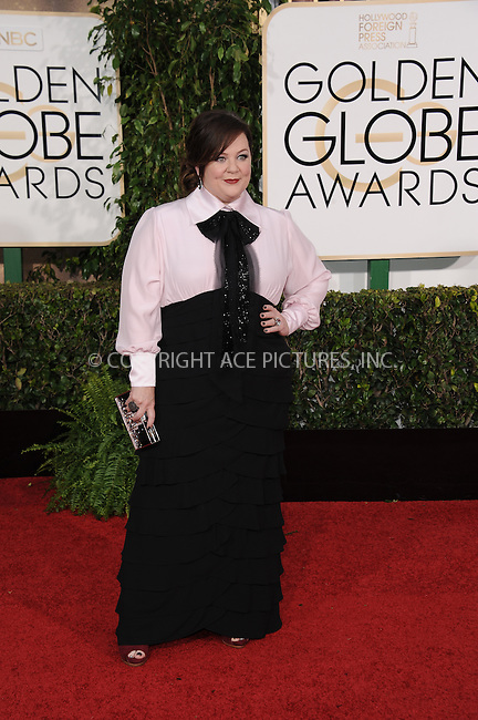 WWW.ACEPIXS.COM<br /> <br /> January 11 2015, LA<br /> <br /> Melissa McCarthy arriving at the 72nd Annual Golden Globe Awards at The Beverly Hilton Hotel on January 11, 2015 in Beverly Hills, California. <br /> <br /> <br /> By Line: Peter West/ACE Pictures<br /> <br /> <br /> ACE Pictures, Inc.<br /> tel: 646 769 0430<br /> Email: info@acepixs.com<br /> www.acepixs.com