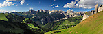 Sella Pass, Val Gardena. The Odle Range in the Dolomites from Passo Sella, a pass at about 2000 meters of elevation, linking Val di Fassa in Trentino with Val Gardena/Grödnertal in Alto Adige/Sud Tirol/South Tyrol