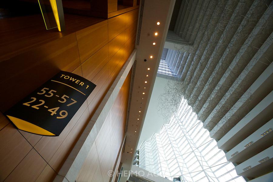 Singapore. Marina Bay Sands Hotel. the atrium lobby. Access to elevators.