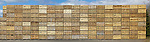 Panoramic shot of stacks of empty wooden potato boxes at a potato merchants in Perthshire, Scotland