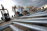 China National Petroleum Corporation nodding donkey oil pumps and pipelines, Daqing, Heilongjiang Province, China