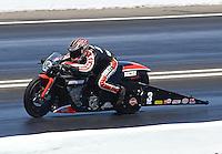 Jun. 1, 2014; Englishtown, NJ, USA; NHRA pro stock motorcycle rider Eddie Krawiec during the Summernationals at Raceway Park. Mandatory Credit: Mark J. Rebilas-