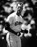 San Francisco Giants Will Clark after called third strike, (1990 photo/Ron Riesterer)