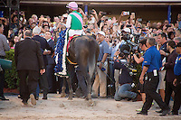 HALLANDALE BEACH, FL - JANUARY 28: Arrogate with jockey Mike Smith up enter the winners circle surrounded by media and fans after winning the Pegasus World Cup Day at Gulfstream Park. (Photo by Arron Haggart/Eclipse Sportswire/Getty Images