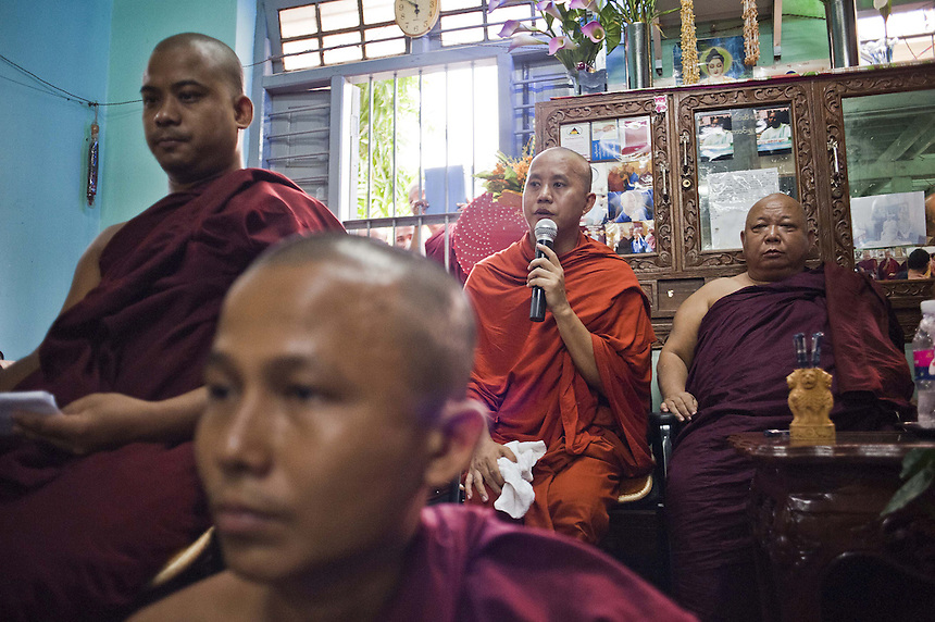 Ashin Wirathu (third from left), one of 5 head monks at Mae Soe Yein monastery in Mandalay, is the most vocal advocator of  the ?969? movement that encourages Buddhists to only shop at Buddhist owned shops with stickers to identify them. Wirathu claims there is a growing threat of Muslims trying to convert Myanmarto Islam by marrying with Buddhist women. Not all the head monks at  Mae Soe Yein monastery support Wirathu's views on Islam.