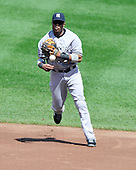 New York Yankees second baseman Robinson Cano (24) throws out Baltimore Orioles Adam Jones to end the first inning at Oriole Park at Camden Yards in Baltimore, Maryland in the first game of a doubleheader on Sunday, August 28, 2011.  .Credit: Ron Sachs / CNP.(RESTRICTION: NO New York or New Jersey Newspapers or newspapers within a 75 mile radius of New York City)