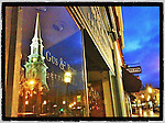 "The North Church reflected in a store window on Congress Street in Portsmouth, New Hampshire. iPhone photo - suitable for print reproduction up to 8"" x 12""."