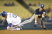 05/31/12 Los Angeles, CA: Milwaukee Brewers shortstop Edwin Maysonet #29 during an MLB gamebetween the Milwaukee Brewers and the Los Angeles Dodgers played at Dodger Stadium. The Brewers defeated the Dodgers 6-2.