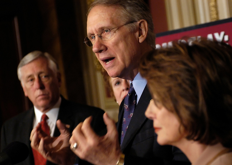 """Senate and House Democratic leaders - House Minority Whip Steny Hoyer, D-Md.; Sen. Mary Landrieu, D-La.; Senate Minority Leader Harry Reid, D-Nev.; and House Minority Leader Nancy Pelosi, D-Calif. - held a news conference to call on the GOP to end """"the abuse of congressional power."""".."""