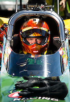 Sept. 5, 2010; Clermont, IN, USA; NHRA top fuel dragster driver Terry McMillen during qualifying for the U.S. Nationals at O'Reilly Raceway Park at Indianapolis. Mandatory Credit: Mark J. Rebilas-