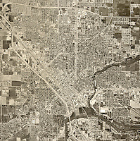 historical aerial photograph Modesto, California, 1967