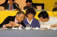 Roma 1987.Congresso del Partito Radicale.Enzo Tortora, Adelaide Aglietta, Giovanni Negri