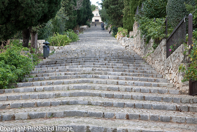 Pilgrim Steps of Calvari in Pollenca, Majorca, Spain