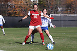 24 November 2013: Arkansas' Yvonne DesJarlais (15) and Duke's Christina Gibbons (31). The University of Arkansas Razorbacks played the Duke University Blue Devils at Koskinen Stadium in Durham, NC in a 2013 NCAA Division I Women's Soccer Tournament Third Round match. Duke advanced by winning the penalty kick shootout 5-3 after the game ended in a 2-2 tie after overtime.