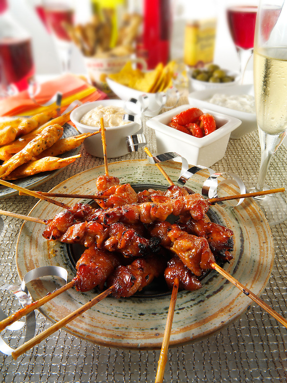 Party food with chicken teriyaki  and tappas