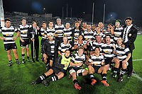 The NPBHS team pose for a team photo after the annual traditional 1st XV secondary schools rugby union match between New Plymouth Boys' High School and Francis Douglas Memorial College at Yarrow Stadium in New Plymouth, New Zealand on Saturday, 6 May 2017. Photo: Dave Lintott / lintottphoto.co.nz