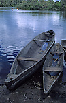 South America, Peru, Amazon River. Dug out canoes