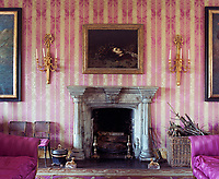 A gothic painting of Medusa's head hangs above the stone fireplace in this pink and yellow drawing room