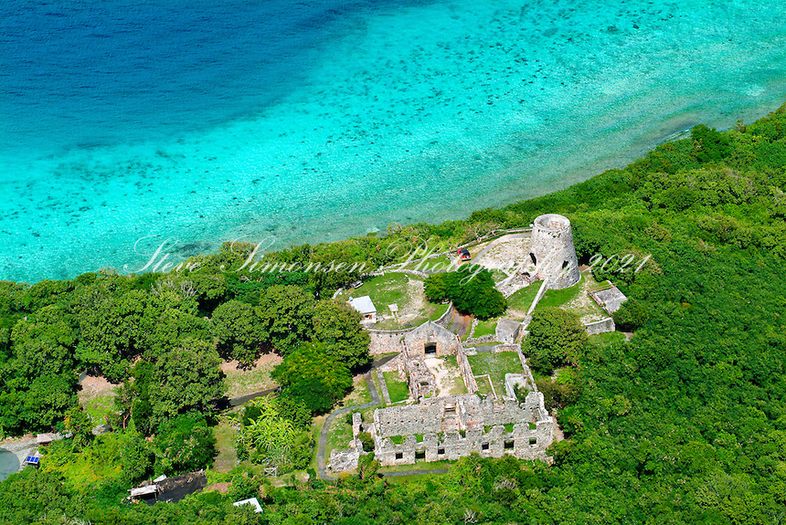 Aerial view of  Annaberg Ruins.Virgin Islands National Park.St John, US Virgin Islands