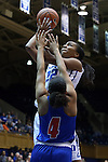 19 December 2014: Duke's Oderah Chidom (22) shoots over UMass Lowell's Brianna Rudolph (4). The Duke University Blue Devils hosted the University of Massachusetts Lowell River Hawks at Cameron Indoor Stadium in Durham, North Carolina in a 2014-15 NCAA Division I Women's Basketball game. Duke won the game 95-48.