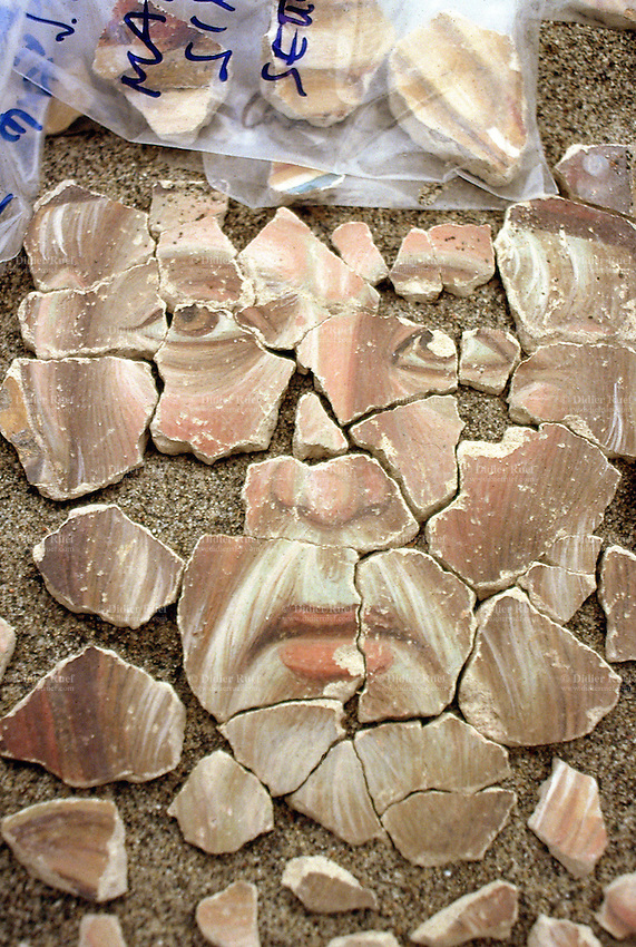 Italy. Umbria province. Assisi. Earthquake's destruction. San Francisco's Basilica. Cimabue painting in fresco. Saint Rufino face in pieces. 20.11.97 © 1997 Didier Ruef