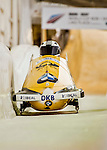 8 January 2016: Nico Walther, piloting his 2-man bobsled for Germany, enters the Chicane straightaway on his second run, ending the day with a combined 2-run time of 1:51.11 and earning a silver medal at the BMW IBSF World Cup Championships at the Olympic Sports Track in Lake Placid, New York, USA. Mandatory Credit: Ed Wolfstein Photo *** RAW (NEF) Image File Available ***