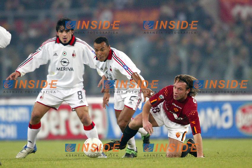 Roma 6/1/2004 Roma - Milan 1-2<br /> Marcos Cafu (Milan) e Antonio Cassano (Roma)<br /> Photo Andrea Staccioli / Insidefoto