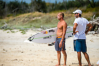 The current World Surfing Champion Mick Fanning and his coach Phil MacNamara  during a training session at D-Bah Beach, Queensland, Australia on Thursday February 20, 2014