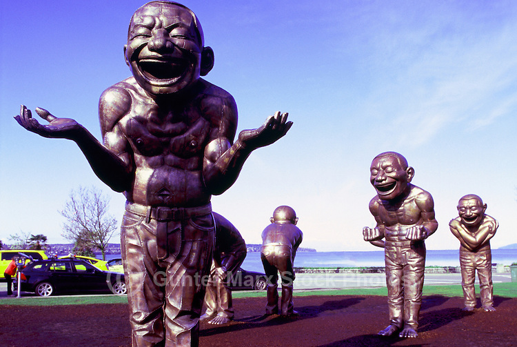 """""""A-maze-ing Laughter"""" Sculpture (artist Yue Minjun) at Vancouver Biennale Exhibition, Vancouver, BC, British Columbia, Canada - Public Art and Tourist Attraction at Morton Park in the West End near English Bay"""