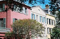 Photo of historic Rainbow Row in Charleston, South Carolina