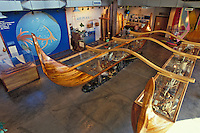 Outrigger canoe and other ocean displays at the Hawaii Maritime Center, Aloha Tower, Honolulu