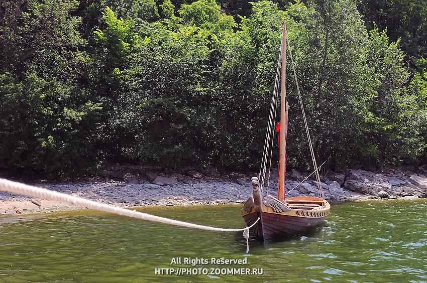 "Medieval Russian boat in National Park ""Samarskaya Luka"""