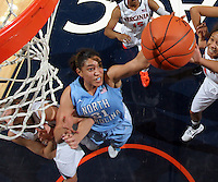 CHARLOTTESVILLE, VA- JANUARY 5: Krista Gross #21 of the North Carolina Tar Heels reaches for the rebound during the game against the Virginia Cavaliers on January 5, 2012 at the John Paul Jones arena in Charlottesville, Virginia. North Carolina defeated Virginia 78-73. (Photo by Andrew Shurtleff/Getty Images) *** Local Caption *** Krista Gross