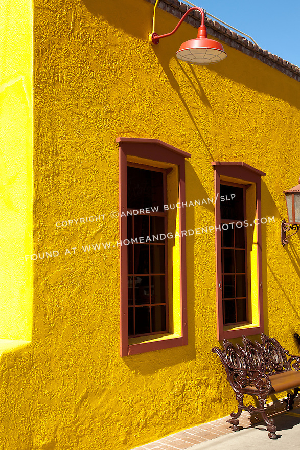 Df027487 Red Windows Yellow Stucco Southwest Stock Photo